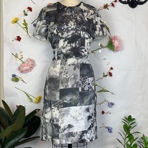 Issac Mizrahi New York silk black and white dress